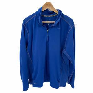 Nike XL Blue Mock Neck 1/4 Zip Dri Fit Top LS
